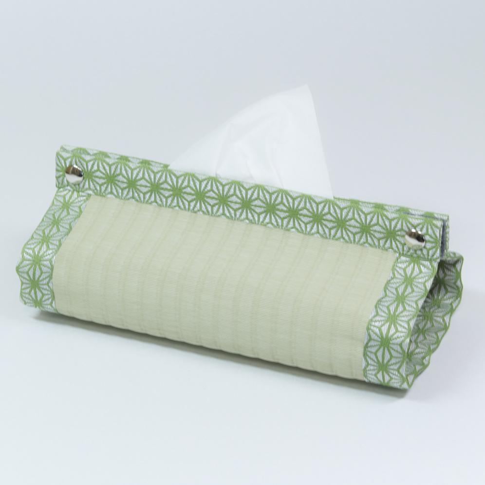 BOXティッシュカバー 麻の葉(緑)