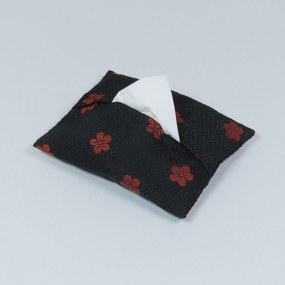 ポケットティッシュケース 赤梅(黒)