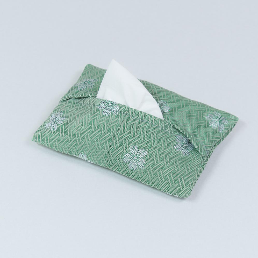 ポケットティッシュケース 桜(緑)