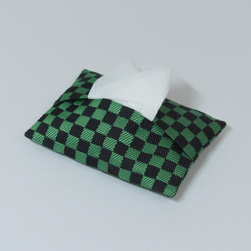 ポケットティッシュケース 和柄(緑黒)